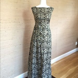 Brocade, low back vintage dress